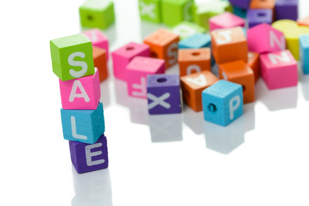 3d illustration of the word sale using colorful cubes illustration