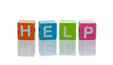 3d illustration of the word help using colorful cubes illustration