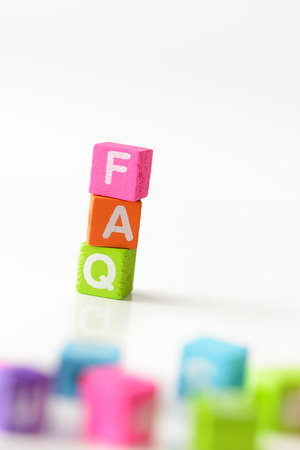 3d illustration of FAQ sign using colorful cubes illustration