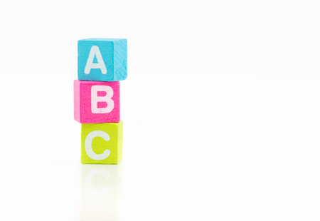 3d ABC colorful cubes on white background photo