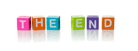 3d illustration of the word The End using colorful cubes