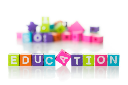 3d illustration of the word education using colorful cubes illustration