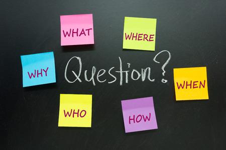 solucion de problemas: Un montón de preguntas escritas en las notas de papel multicolor