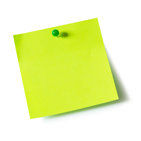 board pin: Green paper note pad attached with push pin on white background