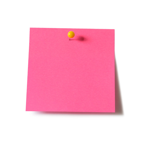 paper pin: Pink paper note pad attached with push pin on white background