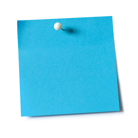 Blue paper note pad attached with push pin on white background