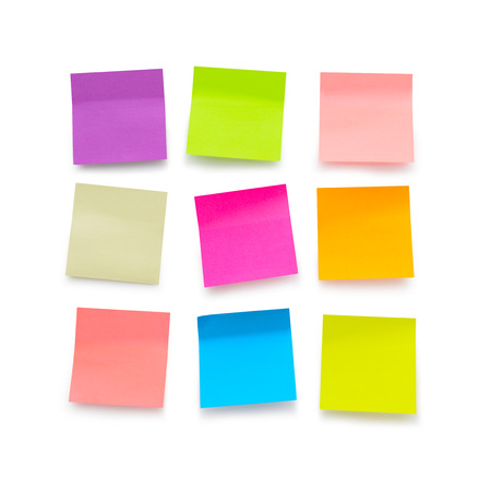 post it note: Nine color blank sticky notes on white background