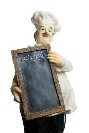 Miniatuur-kok die een lege menu bord