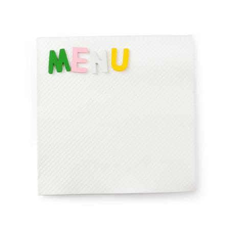 Het menu van Word op servet dat op witte achtergrond wordt geïsoleerd