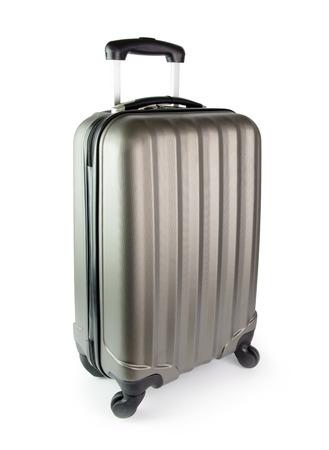 New hard shell suitcase isolated on white background