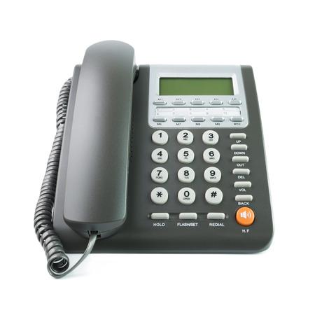 白い背景上に分離されて近代的なグレー色デスク電話 写真素材