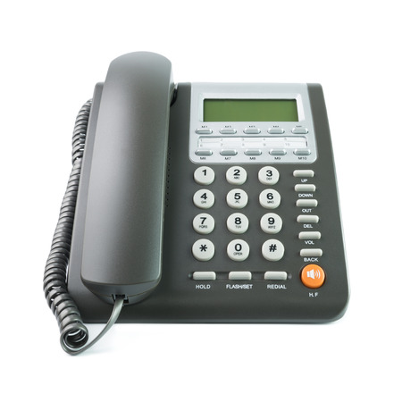 Moderne grijze kleur bureau telefoon geïsoleerd op witte achtergrond Stockfoto