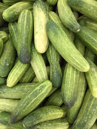 Pile of cucumbers for sales Stock Photo