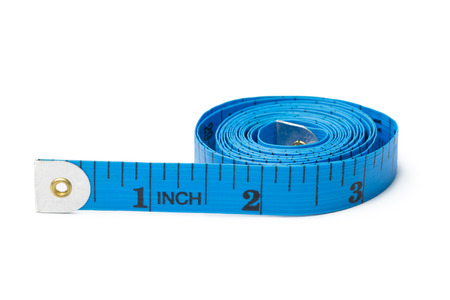 tailor measuring tape: Blue measuring tape for tailor on white background