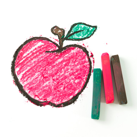 crayon drawing: Child drawing of apple using oil pastel crayon Stock Photo
