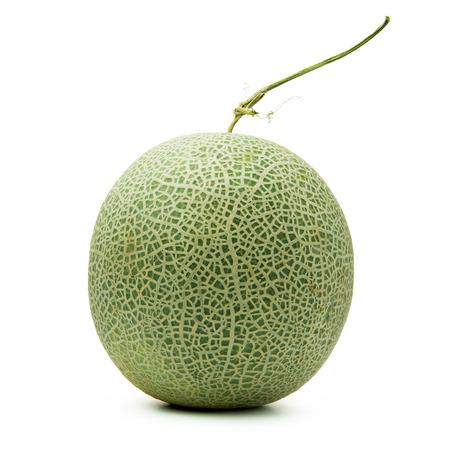 Close up of whole cantaloupe fruit on white background Stock Photo