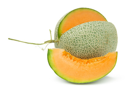 Close up of orange cantaloupe melon on white background 版權商用圖片