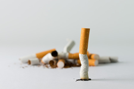 Group of cigarette indicates quitting smoking conceptual
