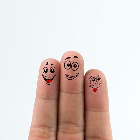 흰색 배경에 고립 된 행복 한 가족 손가락 스톡 콘텐츠