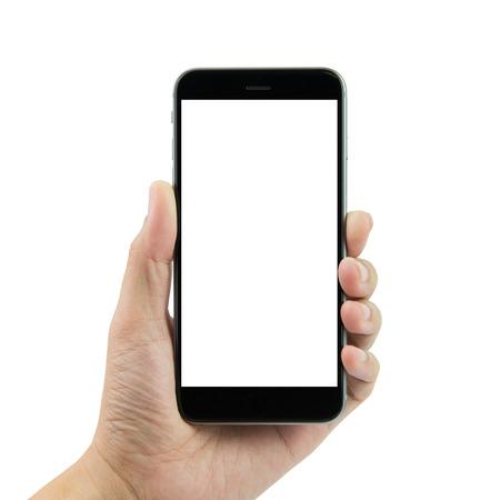 mãos: Mão que prende o telefone esperto com tela em branco sobre fundo branco Imagens