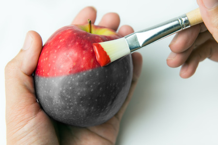 Painting a fresh red apple with paintbrush Imagens