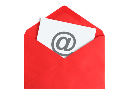 Paper sheet with email icon in red envelope