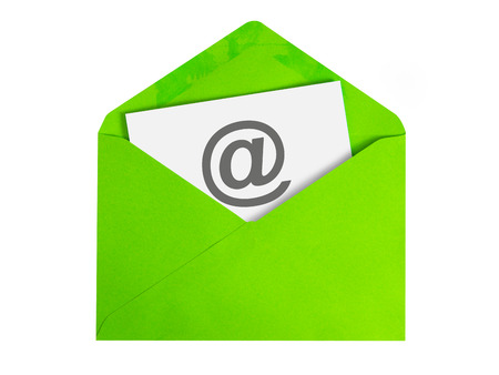 Paper sheet with email icon in green envelope Stock fotó