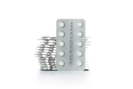 packs of pills: Packs of medicine pills on white background Stock Photo