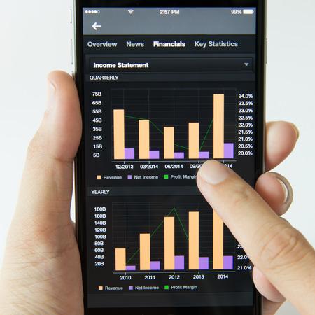 margen: Teléfono elegante que muestra el estado de resultados financieros en el mercado de valores