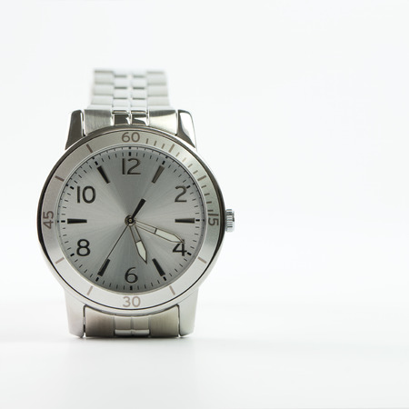 pricey: Close up of women wristwatch on white background