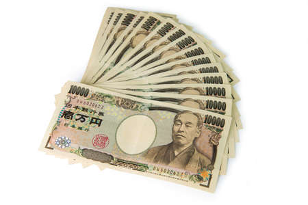 banknote: Close up of 10000 Japanese yens on white background