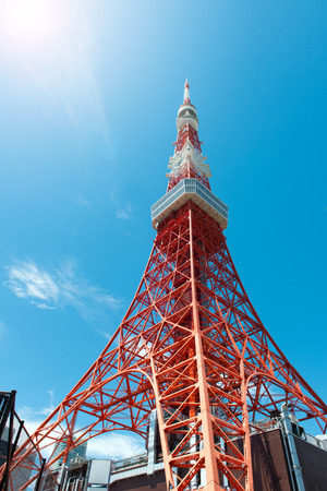 Tokyo Tower in Japan against clear blue sky