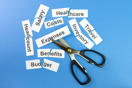 cutting costs: Financial control concept illustrated with scissors cutting papers with company expenses written on them Stock Photo
