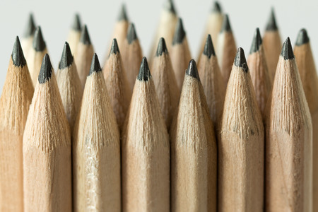 sketch drawing: Bundle of wooden pencils forming background Stock Photo