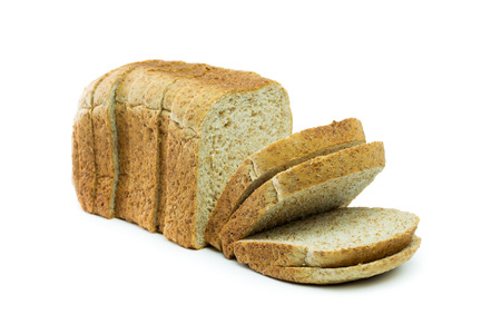 Whole wheat bread loaf on white background