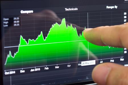 analysing: Finger on smart phone screen analysing financial graph