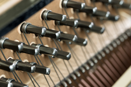 tuning: Close up of piano strings forming background