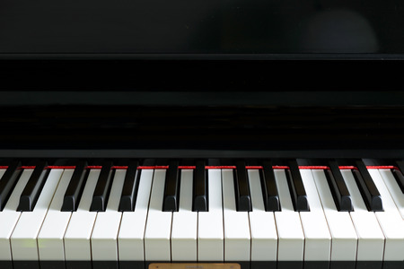 Close up of piano keyboard forming background