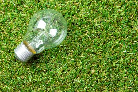 lamp light: Light bulb on green grass for green energy conceptual Stock Photo