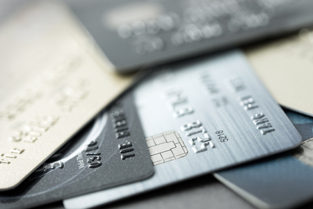 credit cards: Close up of credit cards forming background