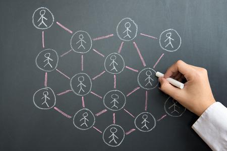 Main dessiner un réseau social sur tableau noir à l'aide de craie