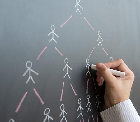 Hand draw multi level marketing diagram on black board Foto de archivo
