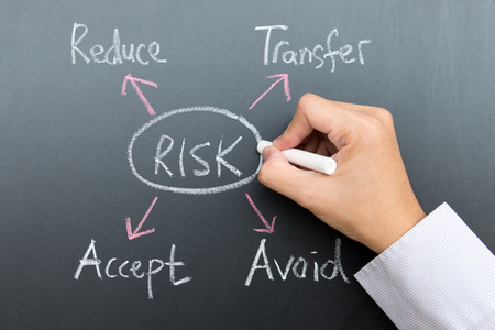 reduce risk: Risk management diagram draw on blackboard using chalk