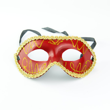 venice mask: Red party masquerade mask isolated on white background