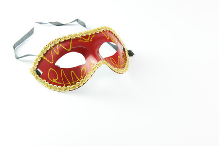 white mask: Red party masquerade mask isolated on white background