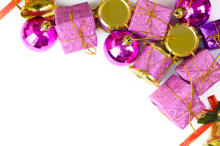 pink christmas: Purple Christmas ornaments on white background, with copy space