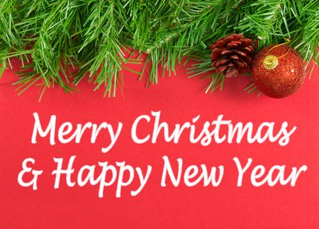 Joyeux Noël et Bonne Année message d'accueil Banque d'images - 48925285