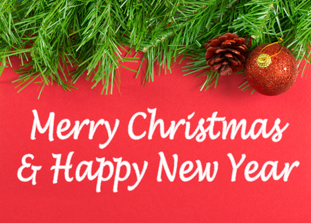 christmas baubles: Merry Christmas and Happy New Year greeting message