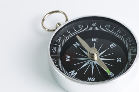 guide: Black compass instrument isolated on white background Stock Photo