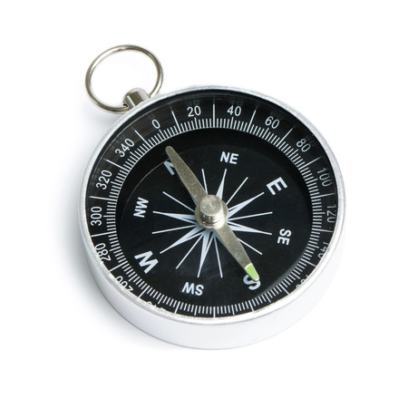Black compass instrument isolated on white background Banque d'images